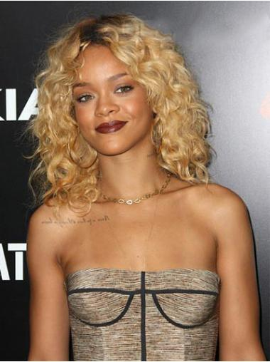 Exquisite Blonde Curly Shoulder Length Rihanna Wigs