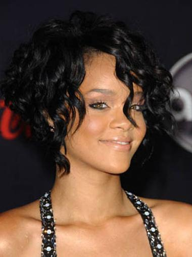 Durable Black Straight Chin Length Rihanna Wigs