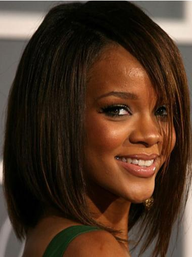 Fashionable Brown Straight Shoulder Length Rihanna Wigs