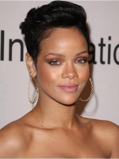 Best Black Straight Cropped Rihanna Wigs