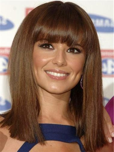 Top Brown Straight Shoulder Length Cheryl Cole Wigs