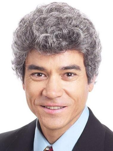 Refined White Curly Short Men Wigs