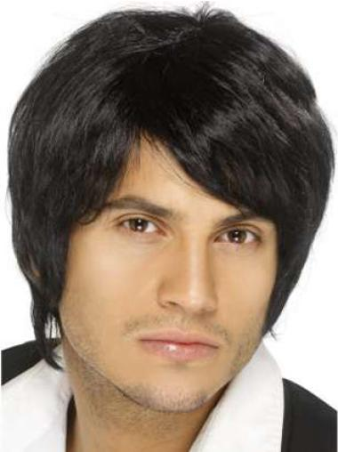 Comfortable Black Straight Short Men Wigs