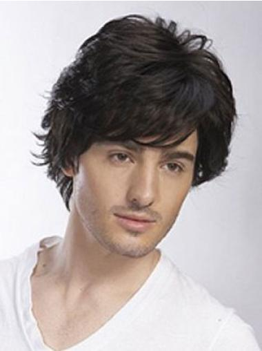 Shining Black Wavy Short Men Wigs