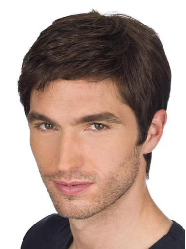 Brown Straight Remy Human Hair No-fuss Men Wigs