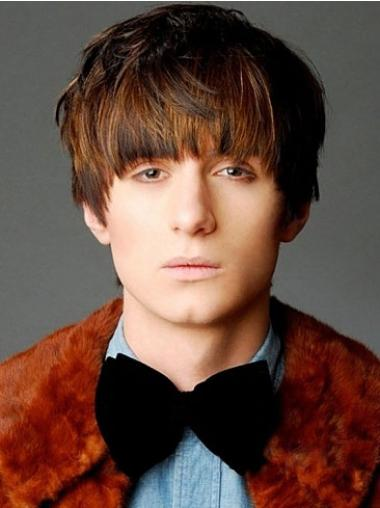 Affordable Brown Straight Short Men Wigs