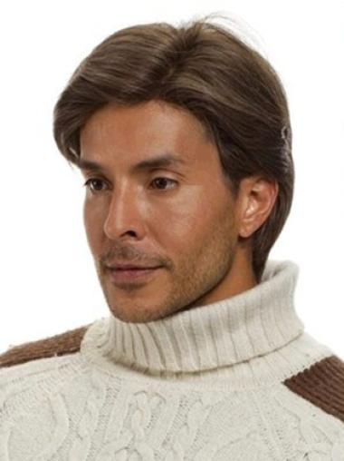 Monofilament Straight Remy Human Hair High Quality Men Wigs