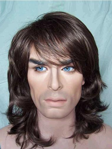 Exquisite Brown Wavy Shoulder Length Men Wigs