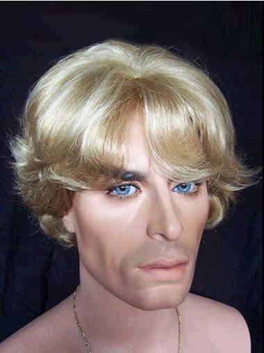 Unique Blonde Wavy Short Men Wigs