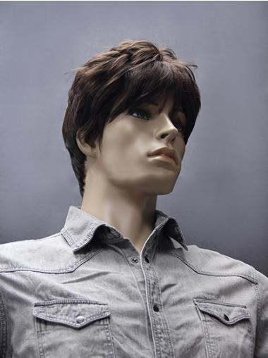 Refined Brown Straight Short Men Wigs