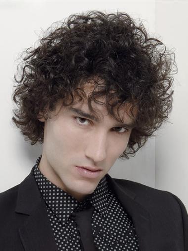 Sleek Black Curly Short Men Wigs