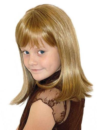 High Quality Blonde Straight Shoulder Length Kids Wigs