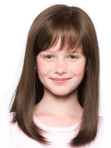 Refined Brown Straight Shoulder Length Kids Wigs