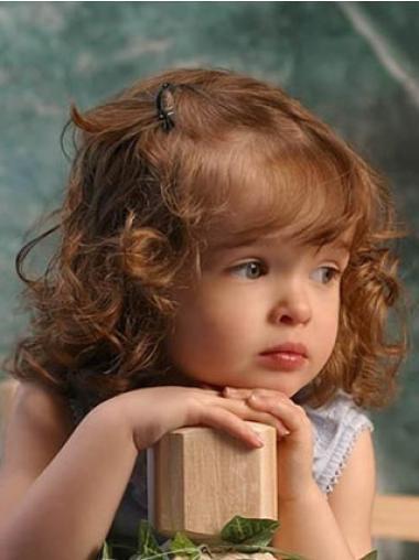 Glamorous Auburn Curly Shoulder Length Kids Wigs