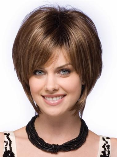 Comfortable Brown Straight Short Bob Wigs