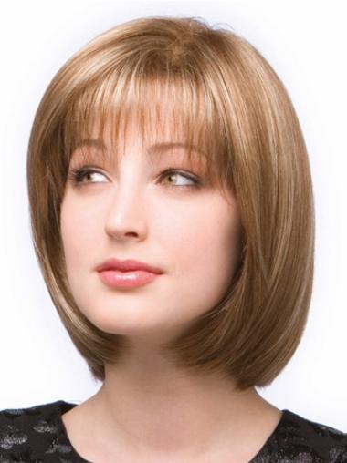 Easeful Blonde Monofilament Chin Length Wigs For Cancer