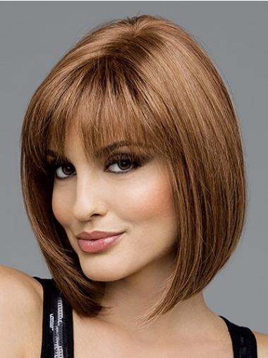 Sassy Brown Straight Chin Length Wigs For Cancer