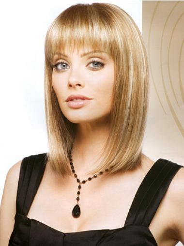 No-fuss Blonde Monofilament Shoulder Length Lace Wigs