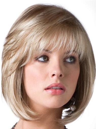 Traditiona Blonde Straight Chin Length Bob Wigs