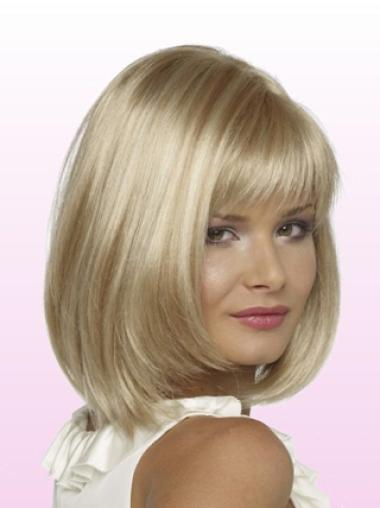 No-fuss Blonde Lace Front Chin Length Petite Wigs