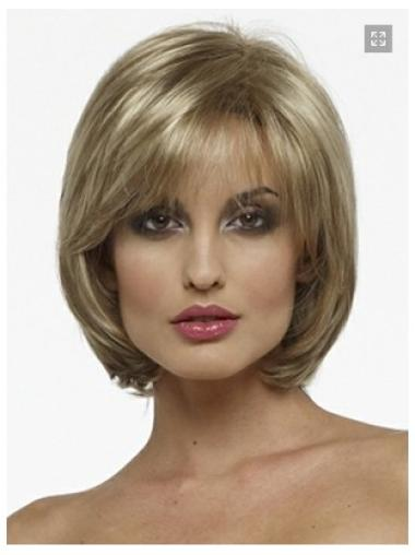 Graceful Blonde Straight Chin Length Bob Wigs