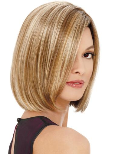 Fashion Blonde Straight Chin Length Lace Front Wigs