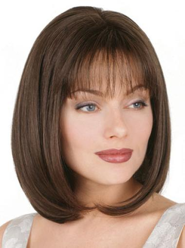 Glamorous Brown Straight Chin Length Petite Wigs