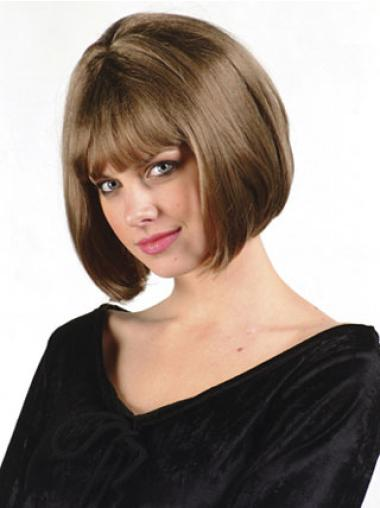 Fashionable Brown Straight Chin Length Bob Wigs
