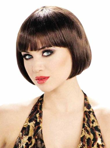 Exquisite Brown Straight Short Bob Wigs