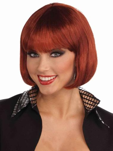 Gentle Red Straight Chin Length Bob Wigs