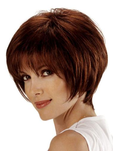 Sleek Auburn Lace Front Chin Length Remy Human Lace Wigs