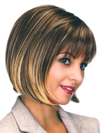 Modern Brown Straight Chin Length Bob Wigs