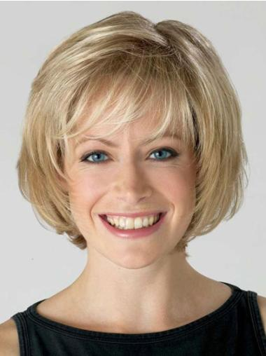 Comfortable Lace Front Bobs Blonde Short Wigs