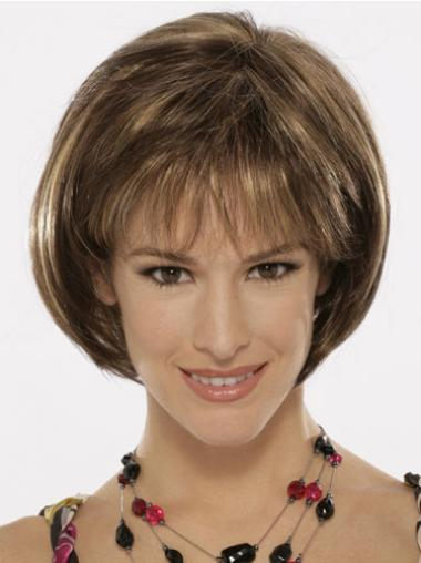 Ideal Brown Straight Chin Length Bob Wigs