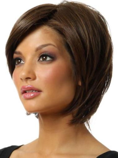 Stylish Brown Synthetic Chin Length Bob Wigs