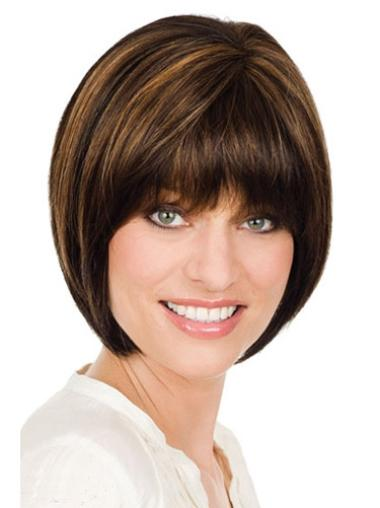 Flexibility Monofilament Straight Chin Length Lace Wigs