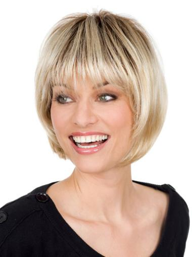 Blonde Monofilament Synthetic Polite Short Wigs