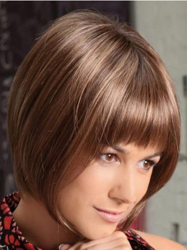 Elegant Auburn Lace Front Chin Length Lace Wigs