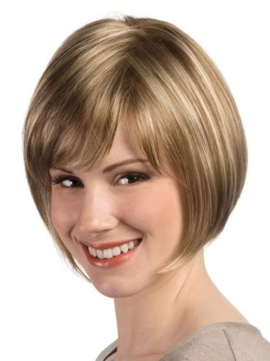 Monofilament Bobs Blonde Short Wigs