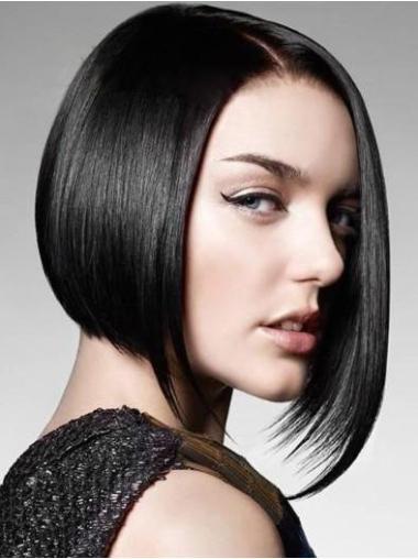 Designed Black Chin Length Human Hair Wigs
