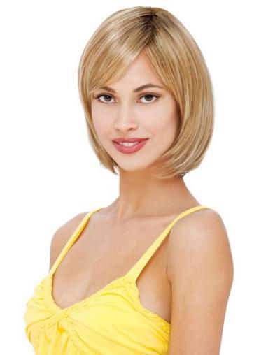 Glamorous Blonde Lace Front Chin Length Remy Human Lace Wigs