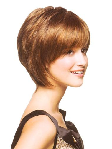 Fashionable Auburn Straight Chin Length Bob Wigs