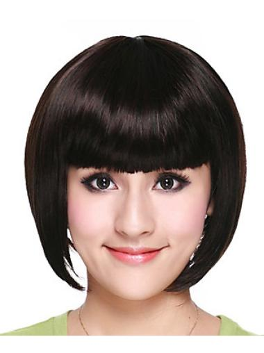Trendy Black Straight Chin Length Bob Wigs