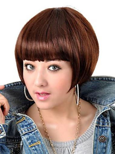Sleek Auburn Straight Short Bob Wigs