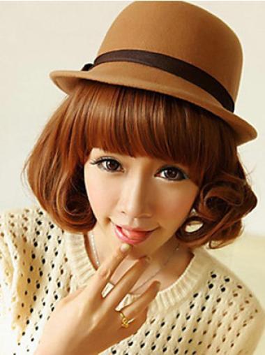Perfect Auburn Wavy Chin Length Lace Wigs