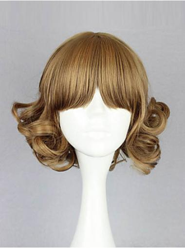 Designed Blonde Wavy Chin Length Bob Wigs