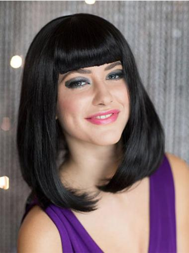 Elegant Black Straight Shoulder Length Bob Wigs