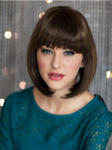 Hairstyles Brown Straight Chin Length Bob Wigs