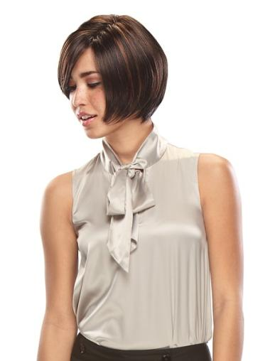 Lace Front Straight Synthetic Mature Short Wigs