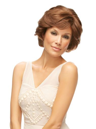 Designed Auburn Wavy Chin Length Remy Human Lace Wigs For Cancer
